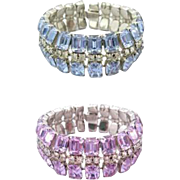 Color Change Light Amethyst and Sapphire Rhinestone Bracelet