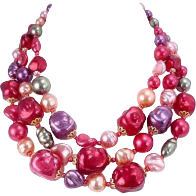 Japan Colorful Multiple Strand Glass Bead Necklace