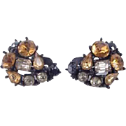 Marvella Rhinestone Earrings in Shades of Topaz, Gray, & Black