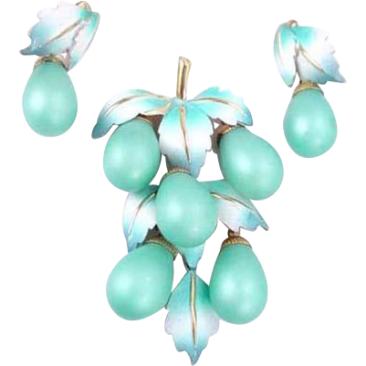 Shades of Turquoise Glass and Enamel Pin and Earrings Set
