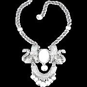 Scarce Silver Tone Donald Stannard White Cabochon Twin Lions Necklace