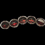 Chunky Vintage Red & Gray Half-Moon Rhinestone Bracelet