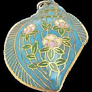 Vintage Turquoise-Blue Hand Painted Flower Seashell Pendant