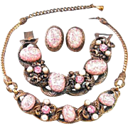 Selro Unsigned Pink Confetti Lucite Copper Necklace, Bracelet and Earrings