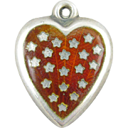 Red Enamel Stars Sterling Silver Puffy Heart Vintage Charm