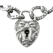 Scarce Antique Sterling North Wind Padlock Charm Bracelet with Key