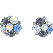 Karu Blue Silver-Tone Rhinestone Earrings: circa 1950