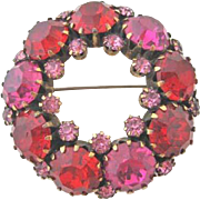 Vintage Rhinestone Circle Pin/Wreath Brooch in shades of Red, Deep Rose, & Pink