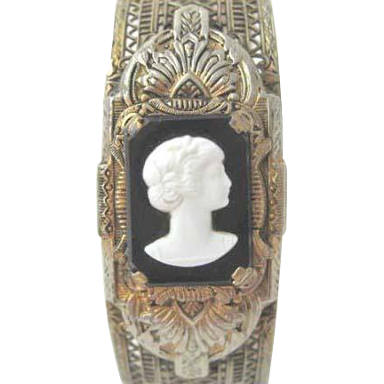 Filigree Vintage Hinged Bracelet  with Lovely Cameo