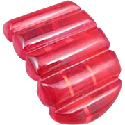 Red Bakelite Prystal Dress Clip
