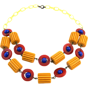 Vintage Carved Bakelite Bead and Celluloid Patriotic Necklace