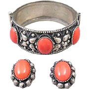 Coral Glass Cabochon Bracelet and Earrings