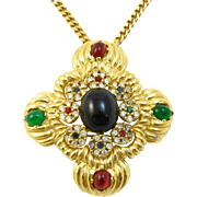 Ciner Rhinestone and Cabochon Pendant/Pin Necklace