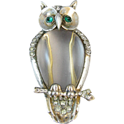 Trifari Sterling Jelly Belly Owl Pin Fur Clip