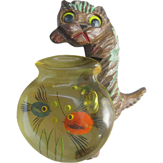 Wood Cat and Reverse Carved Bakelite Fish Bowl Pin