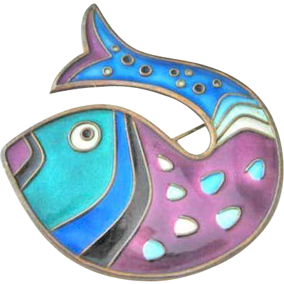 David Andersen Vintage Sterling Enamel Fish Brooch