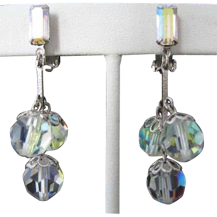 Lewis Segal Vintage Aurora Borealis Rhinestone Earrings