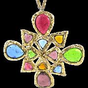 DeNicola Colorful Poured Glass Pendant/Pin Necklace