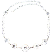Vintage Art Deco Era Crystal Sterling Necklace: circa 1930