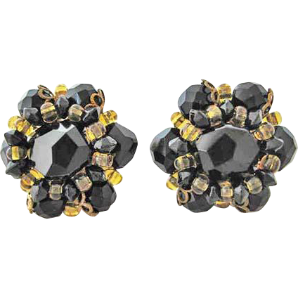 Schiaparelli Black Glass Faceted Earrings