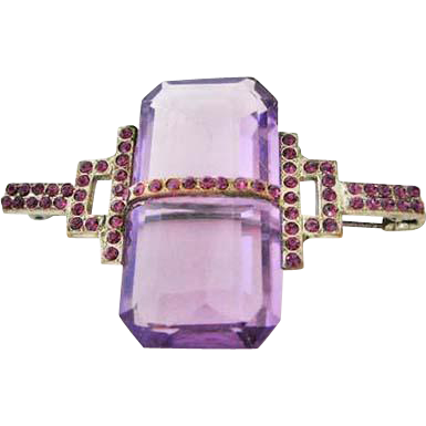 Purple Vintage Art Deco Glass Stone Pin