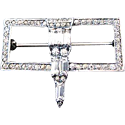 Fishel & Nessler Vintage Silver Art Deco Rhinestone Brooch