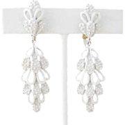 Trifari Dangle White Enamel Cactus Earrings