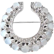 Reja Rhinestone & Glass Moonstone Brooch
