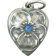 Vintage Pansy Blue Rhinestone Sterling Silver Heart Charm