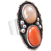 Coral and Opal Sterling Silver Rring