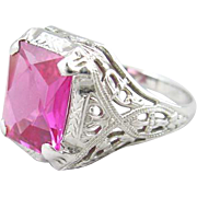 14k White Gold Filigree Lab Ruby Ring