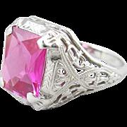 14k White Gold Filigree Lab Ruby Ring