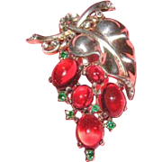Trifari Alfred Philippe Red Cabochon & Green Rhinestone Sterling Fur Clip