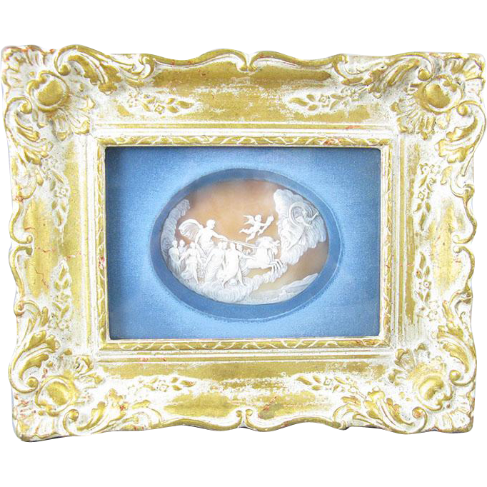 H-U-G-E Carved Shell Cameo of  L'Aurora (Apollo & Aurora ) Framed