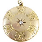 Antique 10k Gold Diamond Locket
