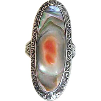 Arts & Crafts Sterling Blister Pearl Ring, Size 6-1/2