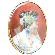1900s Alphonse Mucha Inspired Painted Porcelain Pendant Brooch Byzantine Head