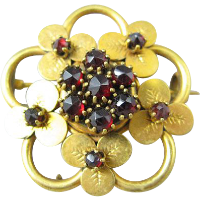 Victorian Bohemian Garnet Trefoil Pin/Brooch
