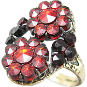 Bohemian Garnet Glass Sterling Vermeil Ring by Novco