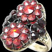 Bohemian Garnet Glass Sterling Vermeil Ring by Novco