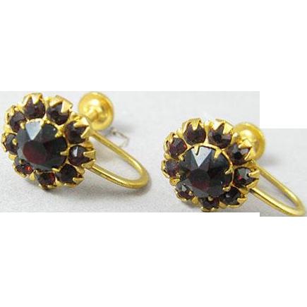 Garnet Rhinestone Earrings