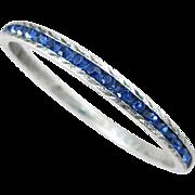 Sapphire Blue Rhinestone Channel Sterling Bracelet