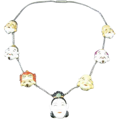 Rare Toshikane Silver Porcelain Seven Gods of Fortune Necklace w/ Original Pamphlet