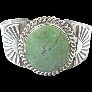 Native American Navajo Cerrillos Turquoise Sterling Cuff Bracelet