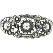 Navajo Sterling Silver Stamp and Repousse Cuff Bracelet