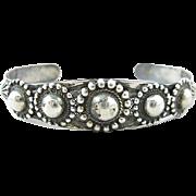 Native American Navajo Sterling SIlver Dome Cuff Bracelet