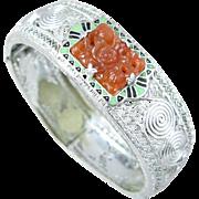 Art Deco Glass Carnelian Enamel Filigree Bracelet