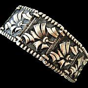Elegant Art Deco 10 Panel Sterling Silver Floral Bracelet