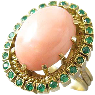 Coral and Emerald 19.2k Gold Ring