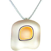 Sterling Glass Pendant Marked UG